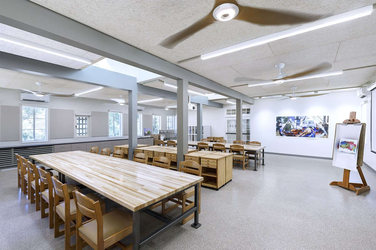 Wide-angle interior view of the Art classroom