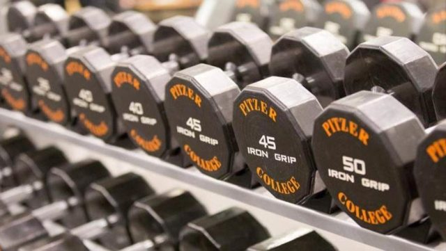 Weights in the Gold Student Center gym