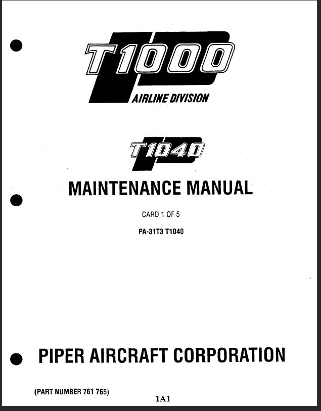 Piper PA-31T Cheyenne Aircraft Maintenance Manuals