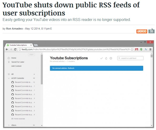 YouTube shuts down public RSS feeds of user subscriptions