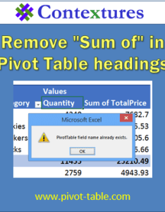 Remove sum of in excel pivot table headings avoid error msg http also tables rh