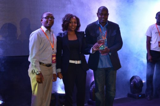 Agatha Gikunda of Intel with Laban Okune and Mark Ngetich of Ma3Route