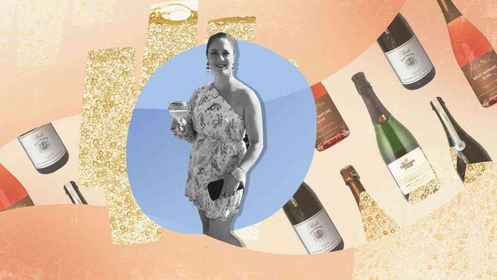 A photo illustraion of Carrie Strong with sparkling wine bottles in the background.