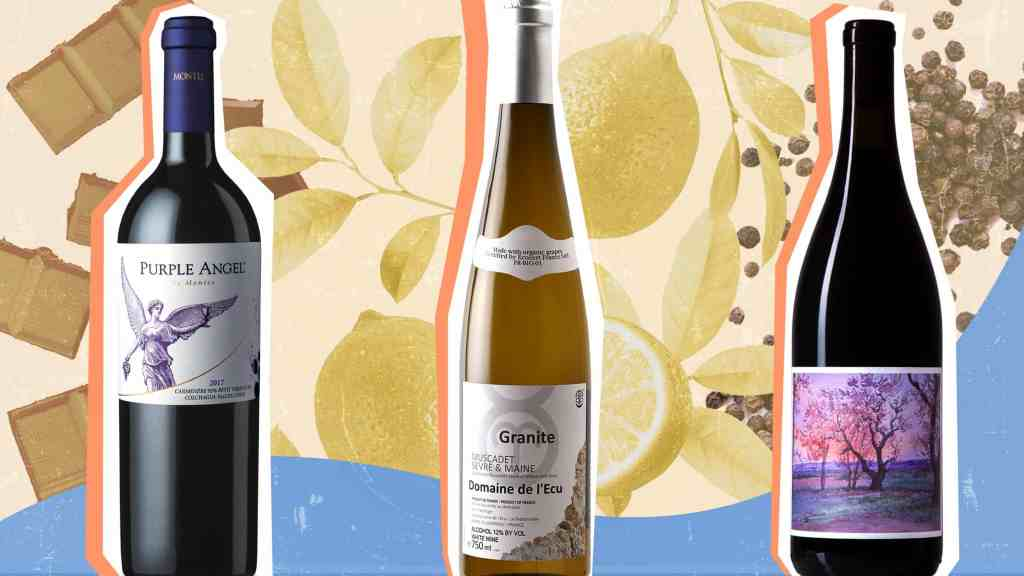 A photo illustration of three bottles of wine against a background showing chocolate, lemons, and black pepper.