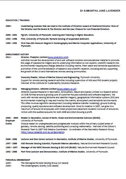 Sam's CV Highlights Pixalytics Ltd