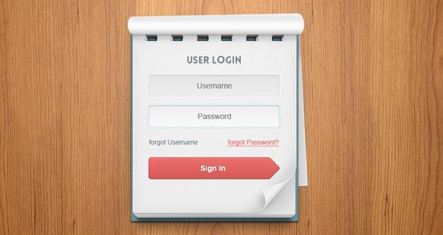 Psd User Login Notebook Psd Web Elements Pixeden