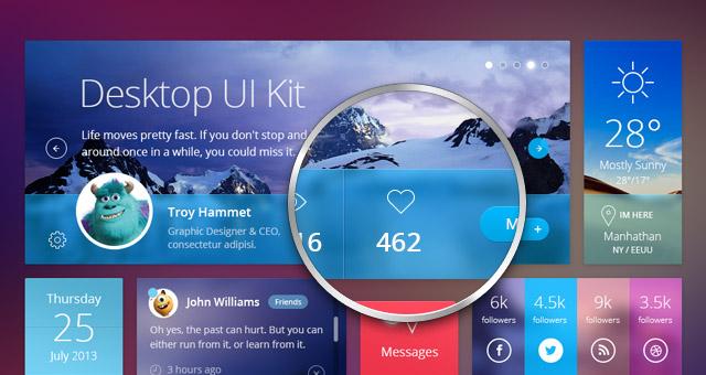Flat Desktop Psd UI Kit Mobile Apps Pixeden