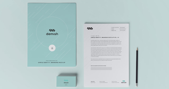 Stationery Branding Mock Up Vol 12  Psd Mock Up