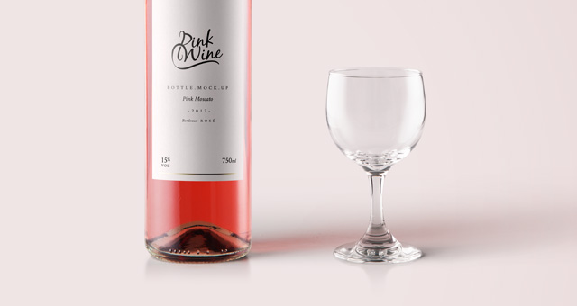 Pink Wine Psd Bottle Mockup Psd Mock Up Templates Pixeden