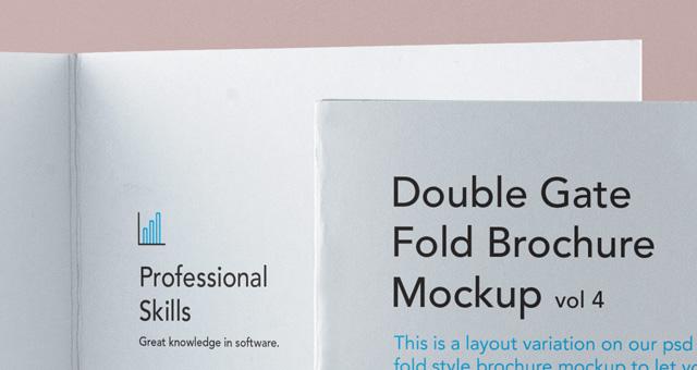 Psd Double Gate Fold Brochure Vol4  Psd Mock Up Templates  Pixeden