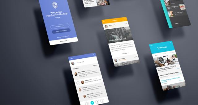 Perspective App Screens MockUp 13  Psd Mock Up Templates  Pixeden