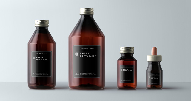 Amber Bottles Cosmetic Packaging  Psd Mock Up Templates  Pixeden