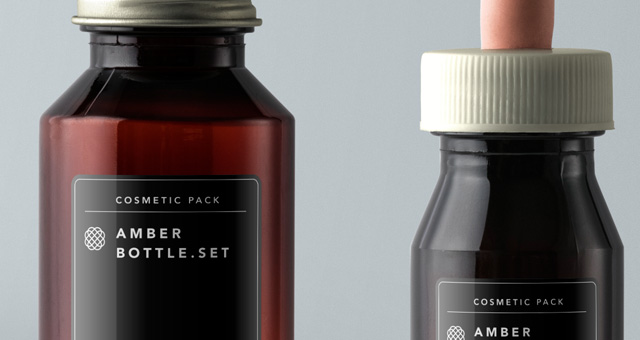Amber Bottles Cosmetic Packaging  Psd Mock Up Templates