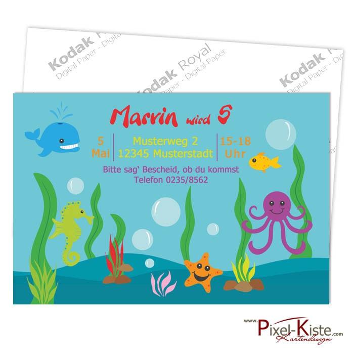 Einladungen Kindergeburtstag Unterwasserwelt Oceanparty