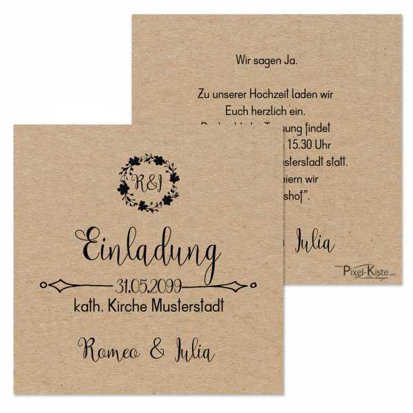 quadratische Einladungen Hochzeit VintageStyle