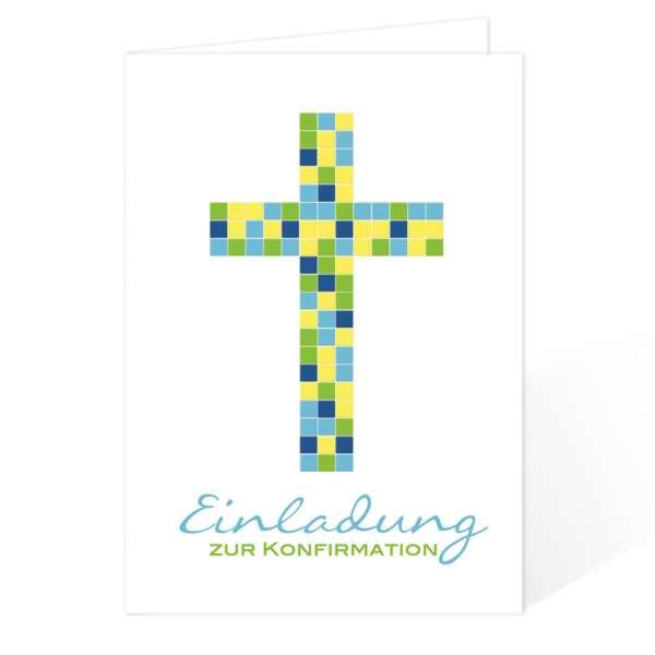Einladungskarten Konfirmation Kommunion MosaikKreuz