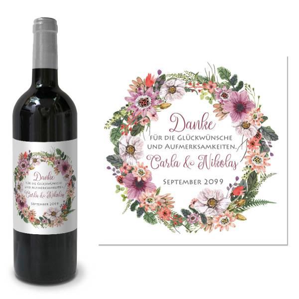 Flaschenetikett fr Gastgeschenke zur Hochzeit drucken lassen