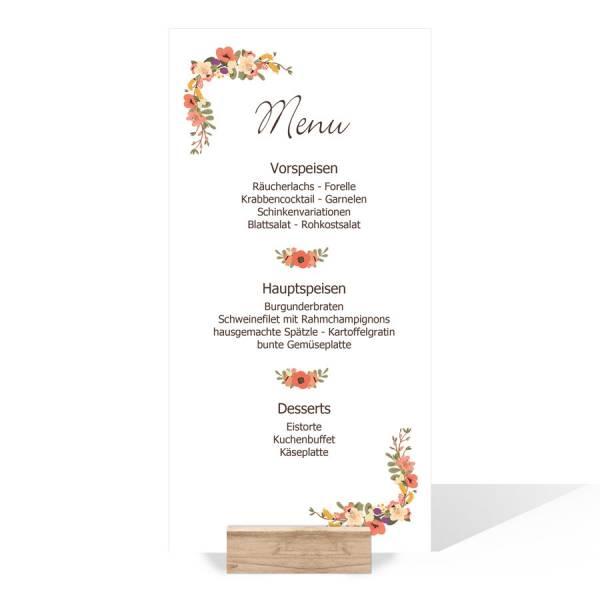 Menkarten Speisekarten Hochzeit Bltenkranz
