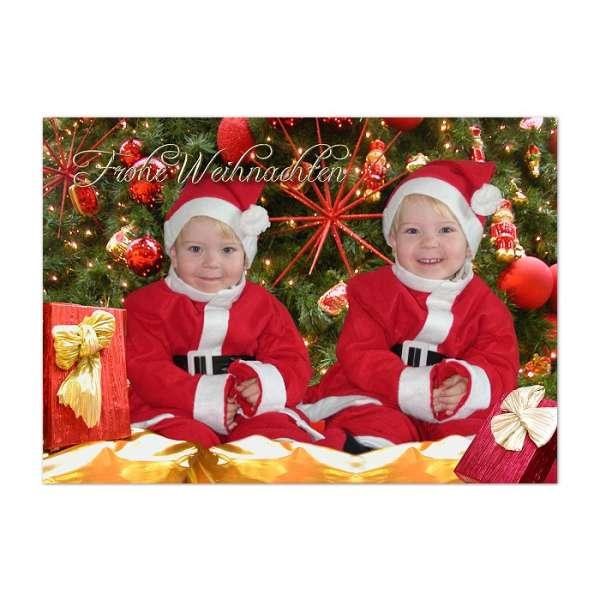 Weihnachtsgre Karte Zwillinge als Fotomontage
