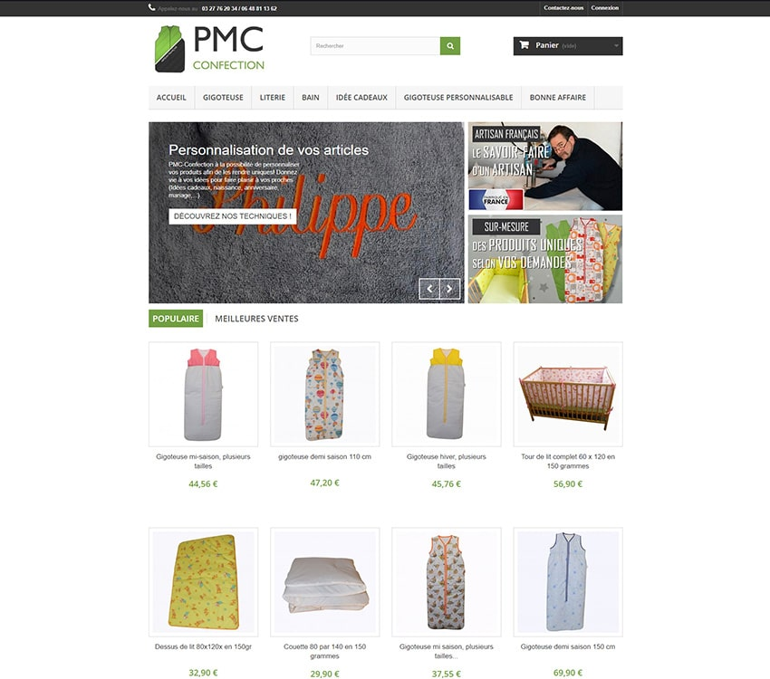 PMC Confection site E-commerce Prestashop