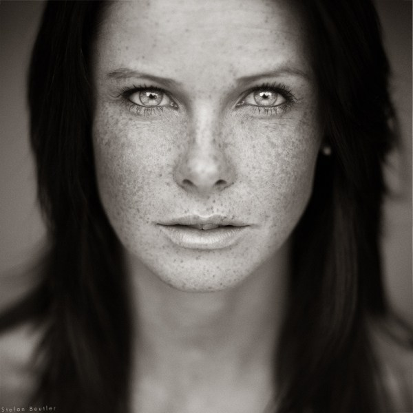 Freckles Black and White Portrait
