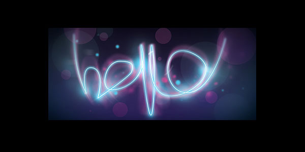 """Glowing """"hello"""" text effect in Photoshop"""