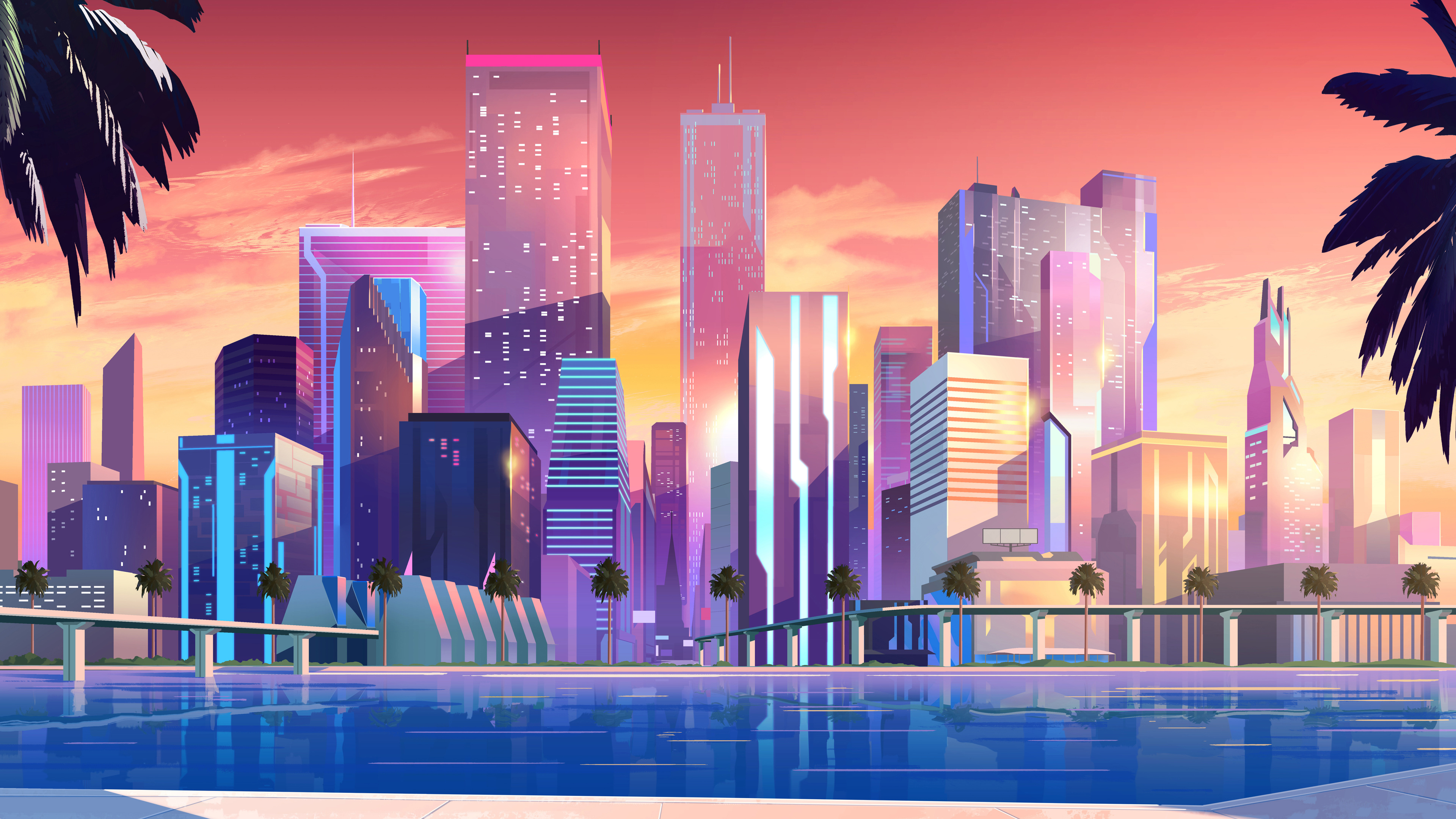 This desk can be put in a study, bedroom, living room, kitchen, children's room, office at will. Moonbeam City Buildings Minimalist 4k minimalist ...