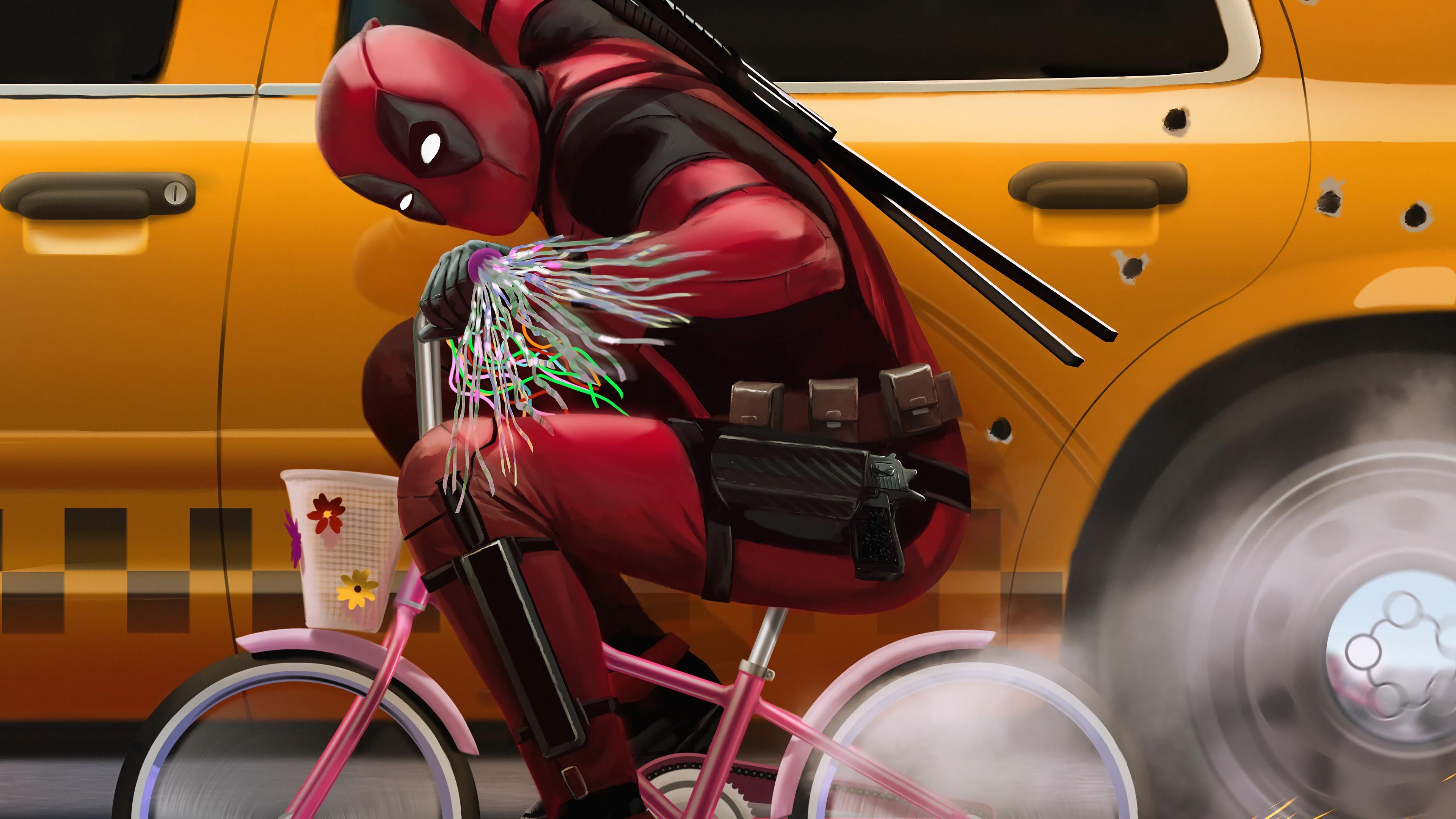 Super Duper Cute Wallpapers Deadpool Riding Bike Deadpool 2 Movie 4k Wallpaper