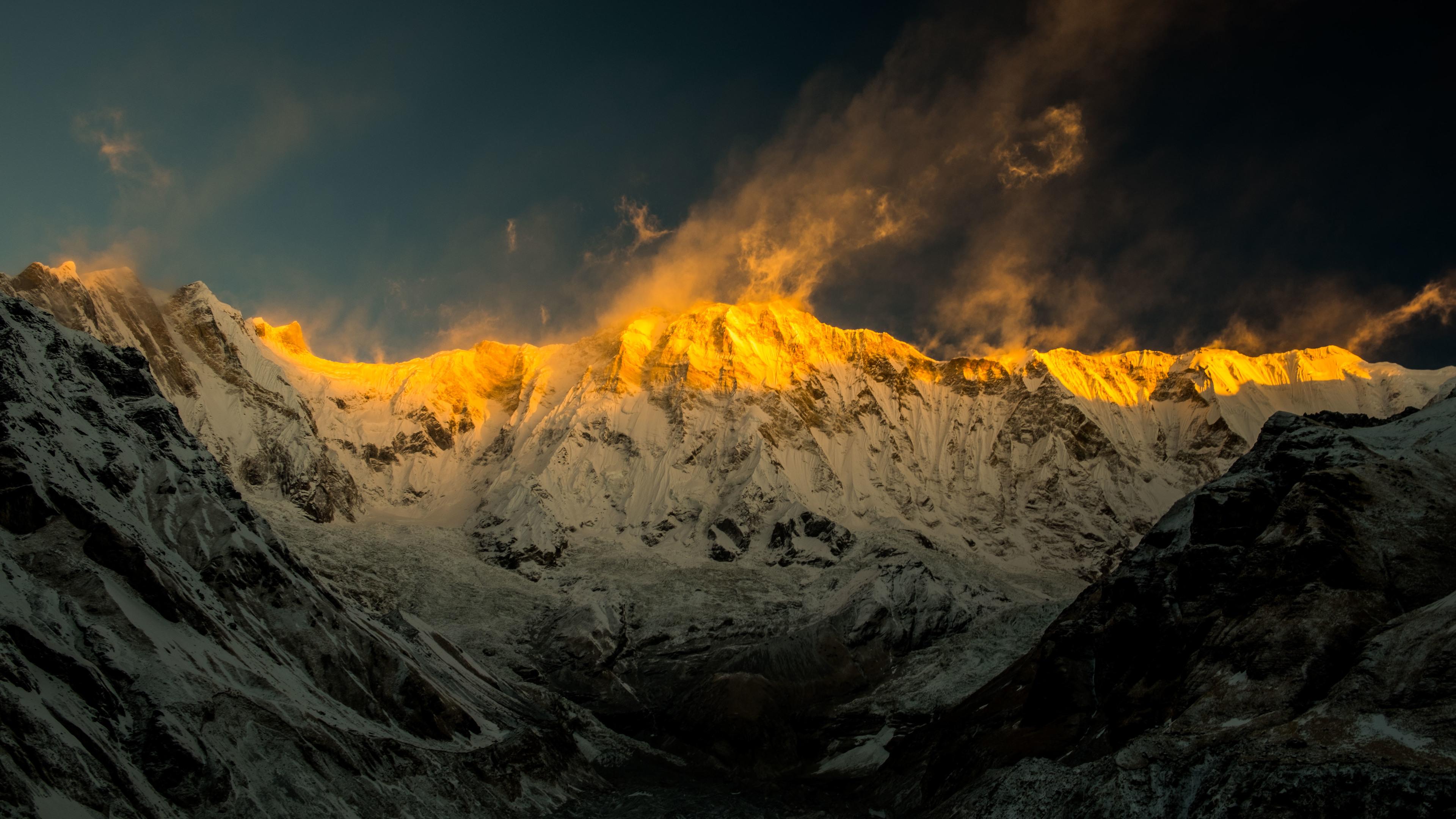 wallpaper 4k annapurna mountains