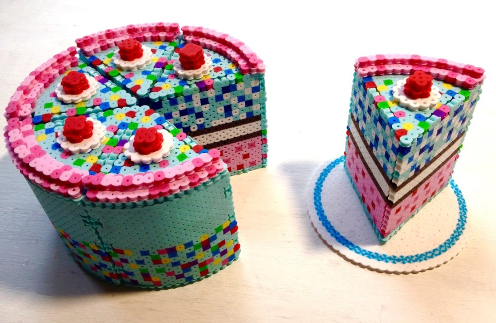 medium resolution of 3d perler bead cake