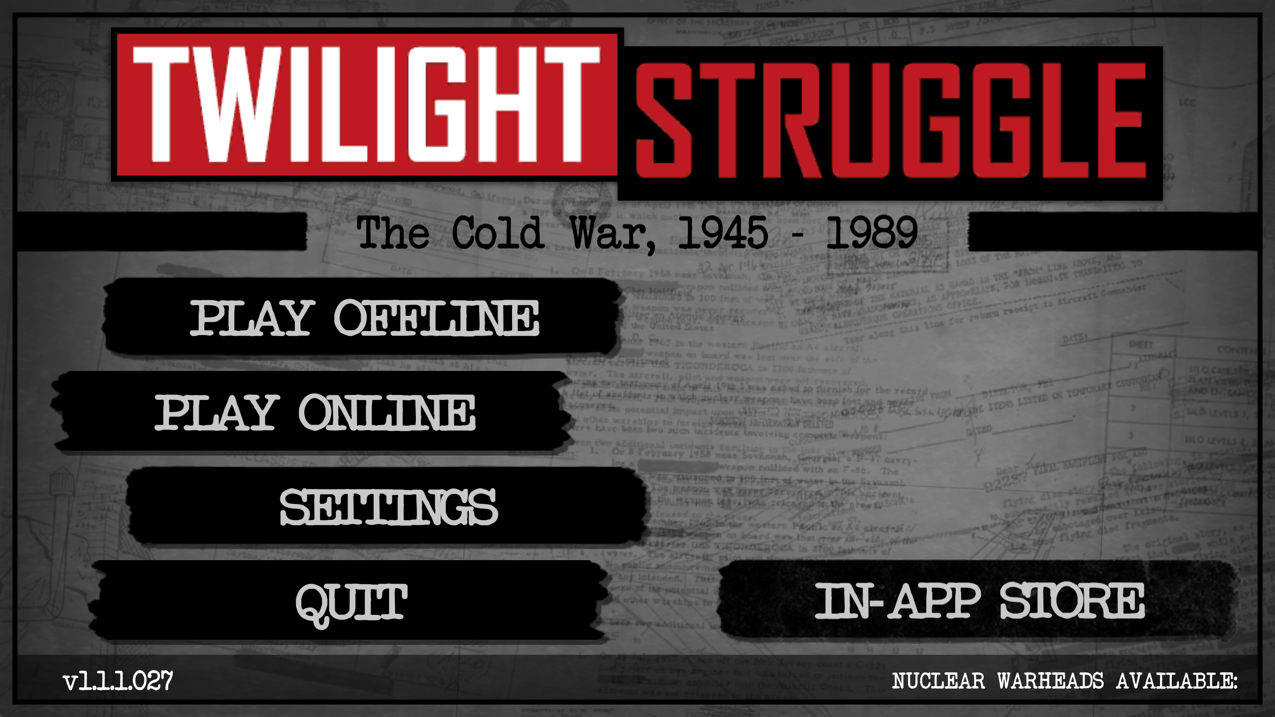 Twilight Struggle - menu