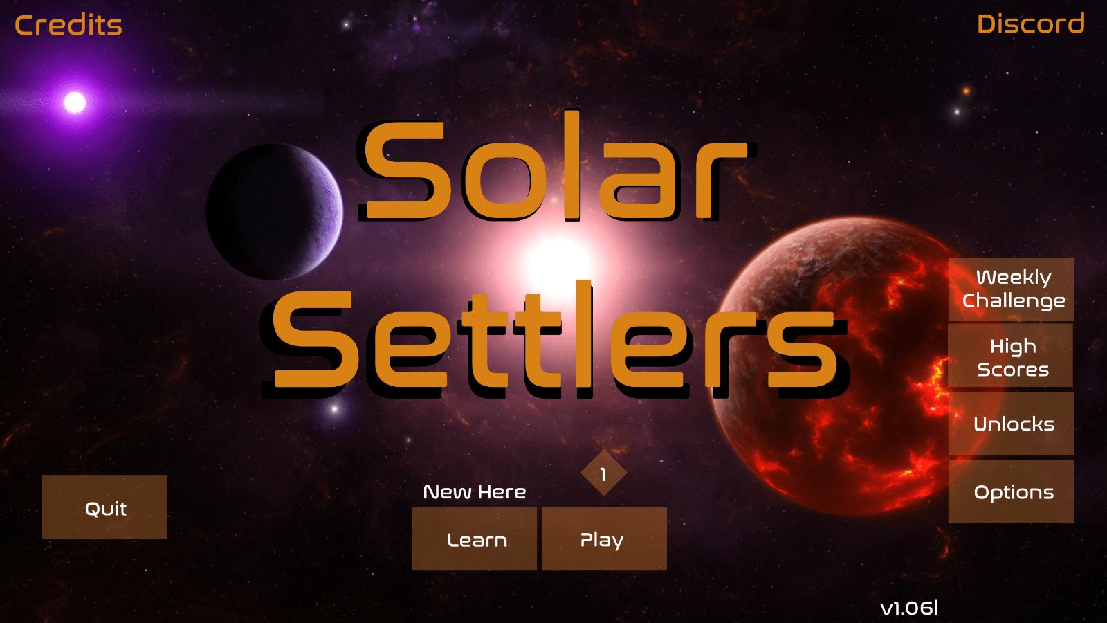 solar settlers - menu