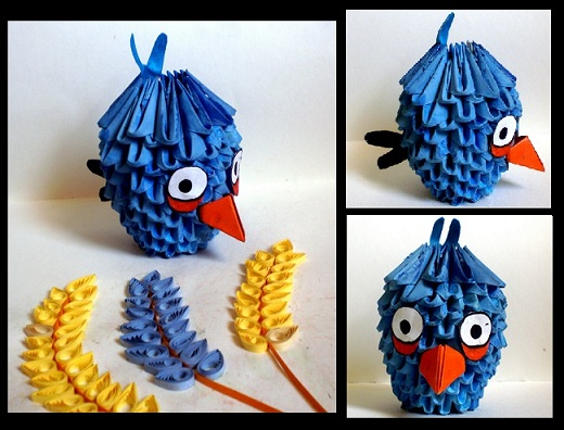 3D Origami Angry Bird Blue