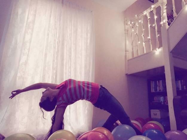 Yoga backbend pose camakarasana
