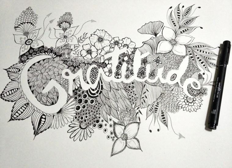 zentangle inspired art typography
