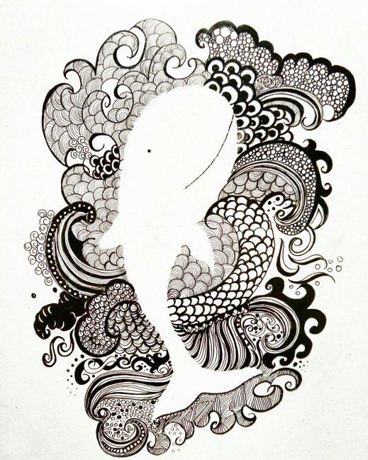 Whale artwork black pen