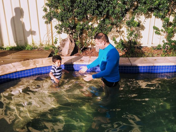 toddler in the swimming pool