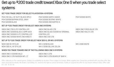 Gamestop Trade-In Values as of 8.2.16 subject to change