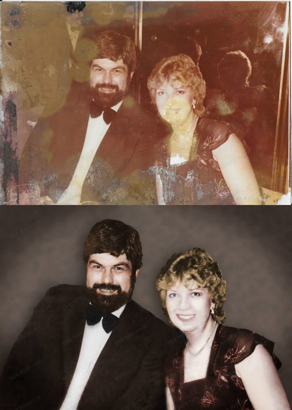 Photo restoration re-colouring and new background