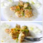 Bocconcini di Ricciòla all'Arancia su Crema di Topinambur e Finocchio