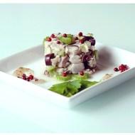 Tartare di Sgombro, Sedano e Olive Kalamata con Marmellatina di Pere al Pepe Rosa