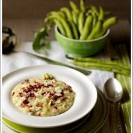 Risotto al Castelmagno DOP con Baccelli (Fave) e Salame Croccante
