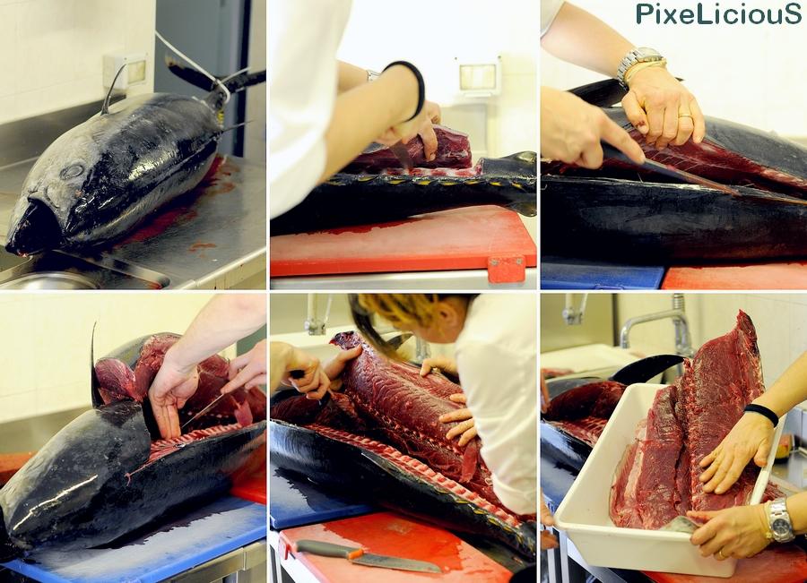 Deborah Corsi, chef JRE del Ristorante La Perla di San Vincenzo (LI), alle prese con la pulizia di un tonno appena pescato