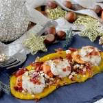 Capesante al Burro su Purea di Zucca all'Arancia con Nocciole e Speck Croccante
