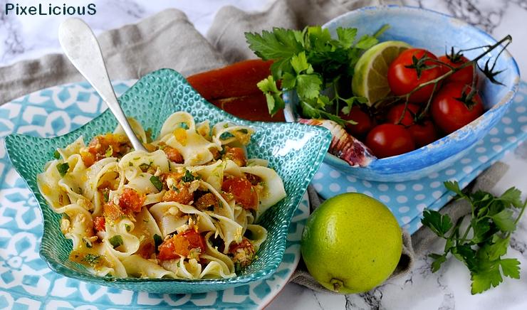 Pappardelline con Ombrina, Pomodorini, Bottarga e Lime