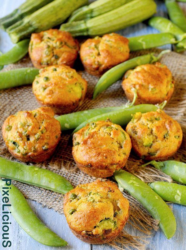 muffins salati integrali con zucchine e piselli