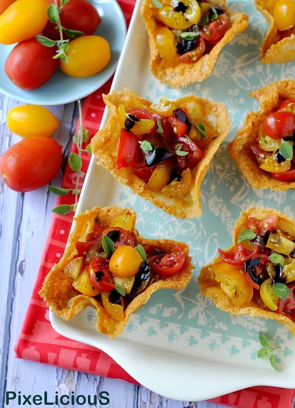 Cestini di Pecorino con Pomodorini Colorati e Glassa di Aceto Balsamico