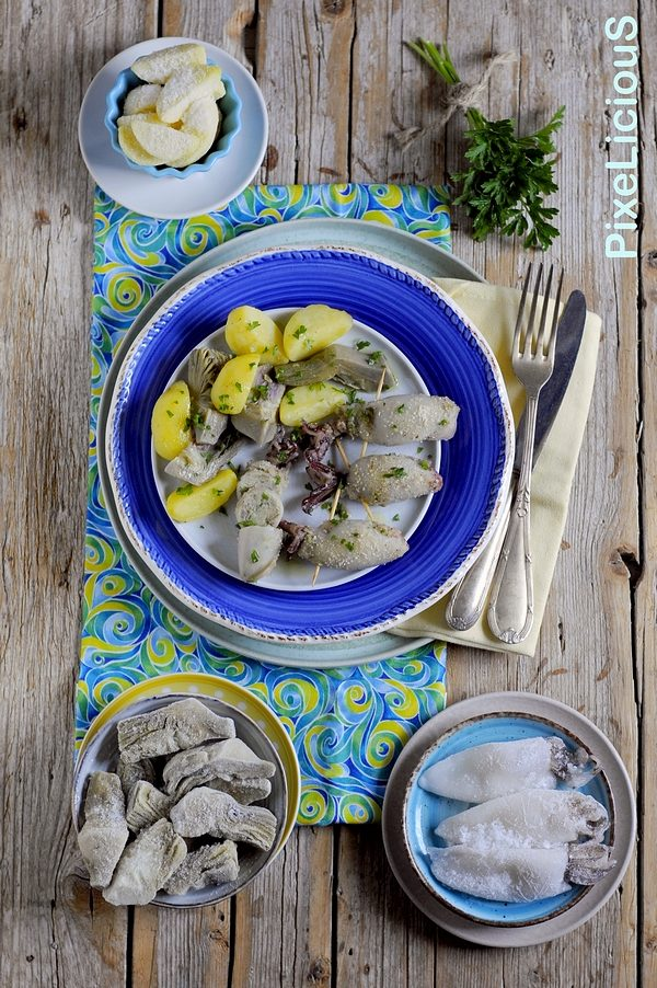 Calamari Ripieni di Carciofi e Patate