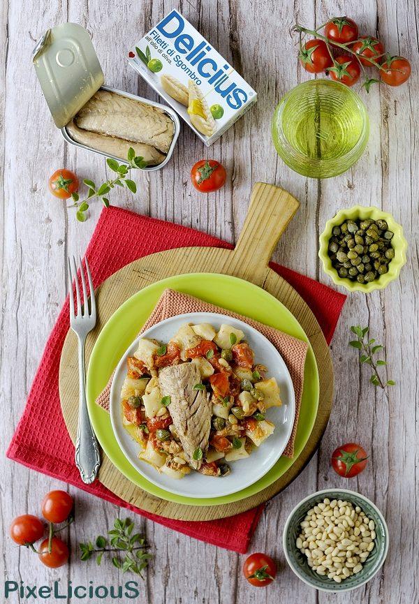 Gnocchetti di Ricotta con Sgombro, Pomodorini, Capperi e Pinoli