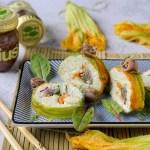 Maki Rolls di Fiori di Zucca con Alici, Verdure Crude e Burrata al Finocchietto e Limone